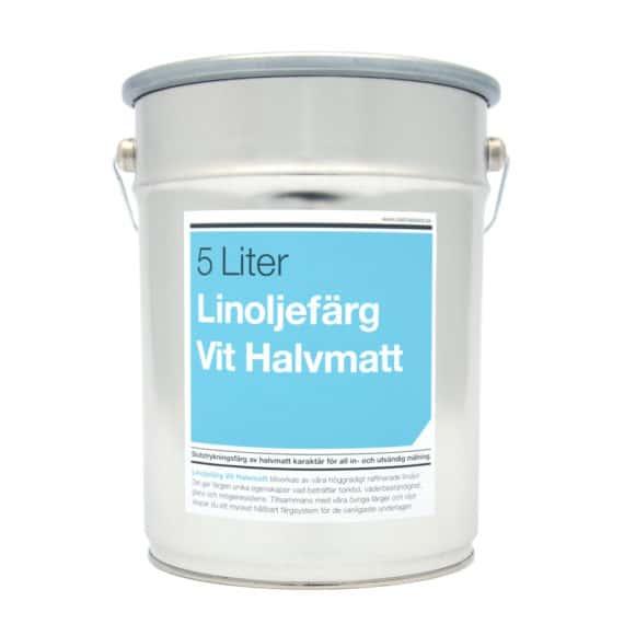 Linoljefärg Vit Halvmatt 5 Liter